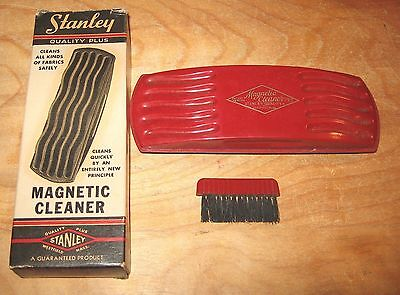Vintage STANLEY Magnetic Fabric Cleaner with Box and Brush
