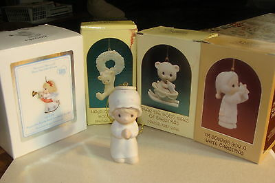 Precious Moments lot of 5 Christmas ornaments, 4 in boxes
