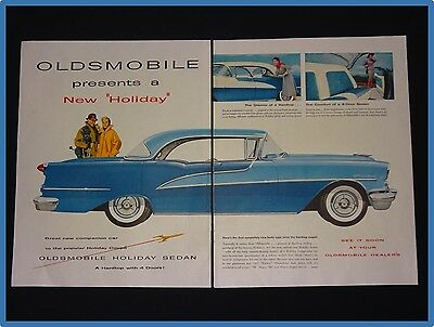 March 19, 1955 Oldsmobile Car 2 Page Ad ~ Holiday Sedan
