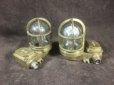 Pair of Antique Brass 60w Nautical Ships Light Fixtures / Industrial Steampunk
