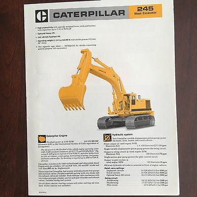 CAT Caterpillar 245 - Vintage Mass Excavator Equipment Brochure Specs 1985