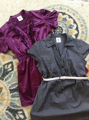 Lot Of 2 Small Maternity Shirts Euc Career Short Sleeve Purple, Belted Nursing