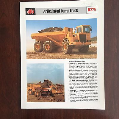 DJB / CAT Articulated Dump Truck D275 - Vintage Equipment Brochure Specs 1978
