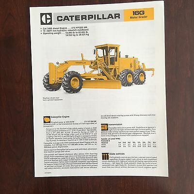 CAT Caterpillar 16G Grader - Vintage Mining Road Equipment Brochure Specs 1985