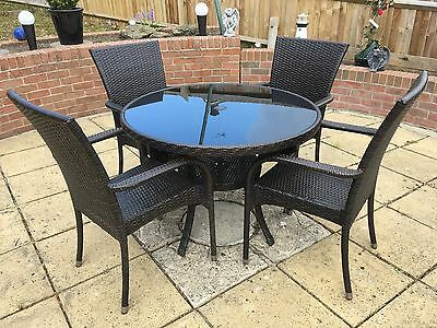 Rattan Garden Table & 4 Chairs and matching 2 Seater Bench