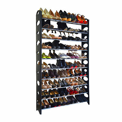 10 Tiers 60 Pairs Shoe Rack Shoes Shelves Organizer Stand Storage Easy Assemble