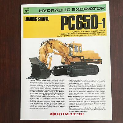KOMATSU PC650-1 Hydraulic Excavator - Mining Equipment Brochure Specs 1980s
