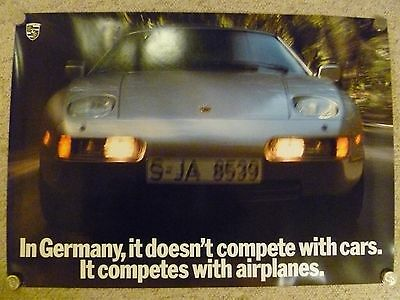 """1989 Porsche 928 """"Competes with Airplanes"""" Showroom Advertising Sales Poster"""