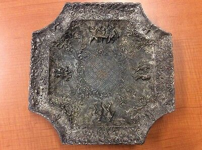Antique Barbour International Silver Repousse Serving Plate Very Ornate