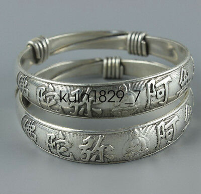 Old Chinese handmade flowers lucky miao silver Carving bangle Bracelet LQ56