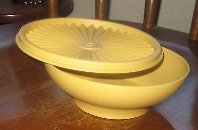 Tupperware vintage retro yellow bowls with fluted lids set of two