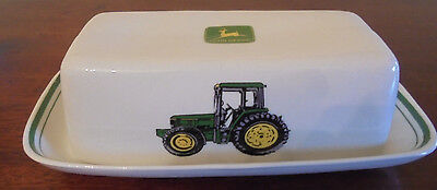 John Deere 2 Piece  Covered BUTTER DISH Nothing Runs Like a Deere  EXCELLENT PRE