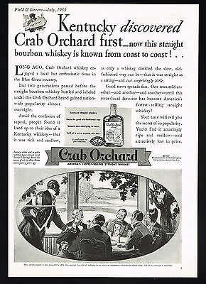 1935 Crab Orchard Straight Bourbon Whiskey Kentucky Vintage Print Ad