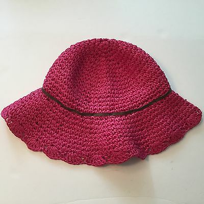 New Gymboree Girls Crochet Straw Sunhat  Island Lily Collection Size 3-4 Pink