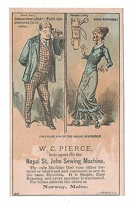 Royal St. John Sewing Machine Trade Card - Man Connected to Wrong Phone Number
