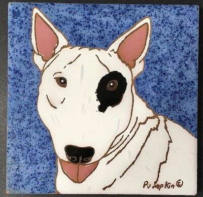 Bull Terrier Dog Kitchen Trivet Pumpkin Hand Painted Tile New Mexico Wall Art