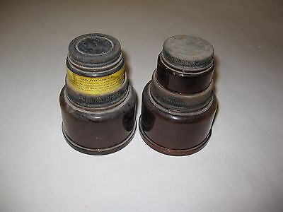 KODAK DEVELOPER vintage amber glass jars photograph camera film (lot of 2)