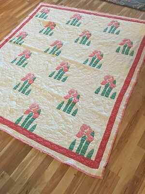 Vintage cutter quilt Iris Flower? pink applique hand quilted from estate
