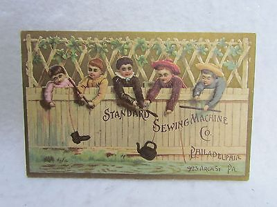 Vintage Victorian Advertising Card:  Phoenixville, Pa. Sewing Machine:Kids/Fence