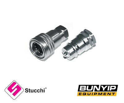 """1/2"""" Bsp Hydraulic Iso Poppet Quick Release Couplings / Couplers Stucchi Tractor"""