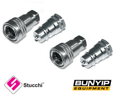 """2 x SETS 1/2"""" BSP HYDRAULIC ISO POPPET QUICK RELEASE COUPLINGS/COUPLERS STUCCHI"""