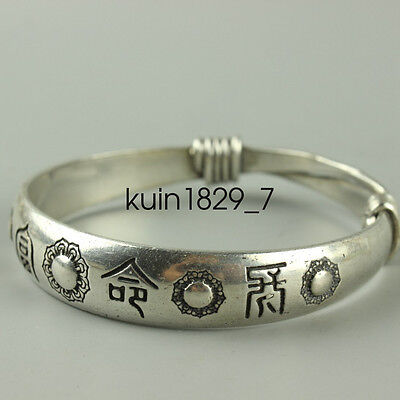 Old Hand-carved Tibet Tibetan silver bracelet Peace LQQQ79