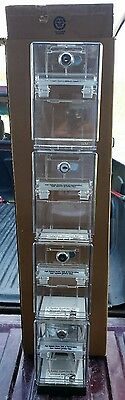 4 Store Locking Lottery Ticket Dispensers, Scratch off Storage Containers Craft