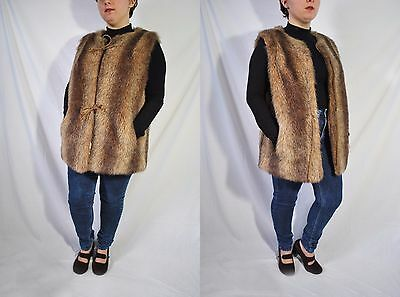 Vintage 70s Brown Faux Fur Vest Long Vegan Vest Hippie Western Vest Outerwear