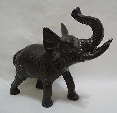 Vintage Brass Elephant Figurine Seiden Trunk Up Painted Brown Heavy Solid Taiwan