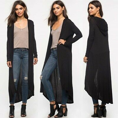 Women Cardigan Long Sleeve Knitted Hooded Outwear Jacket Coat Long Knitwear AU