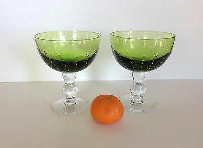 Pair Large Vintage Wine Glasses Champagne Saucers Controlled Bubble Olive Green