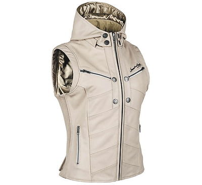 Speed & Strength Women's Hell's Belles Leather Motorcycle Vest [Cream,X-Large]