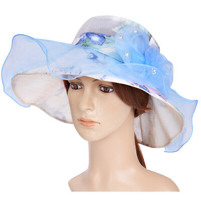 Women Kentucky Derby Hat New Wide Brim Sun Wedding Party Church Floral Organza
