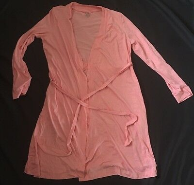 Bump In The Night Maternity Robe Pink Large Tie Q1
