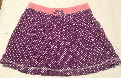 Girl's Lands' End  Skort Skirt Size 12 Purple With White Polka Dots Knit