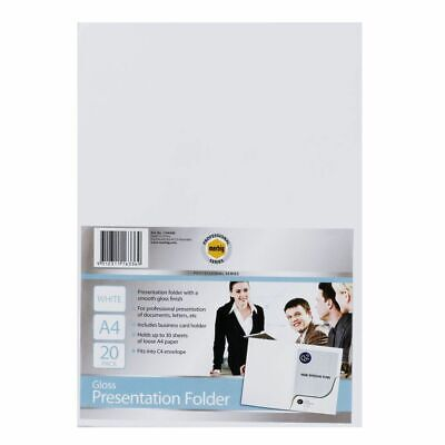 Marbig A4 Professional Presentation Folder Gloss White - 20 Pack