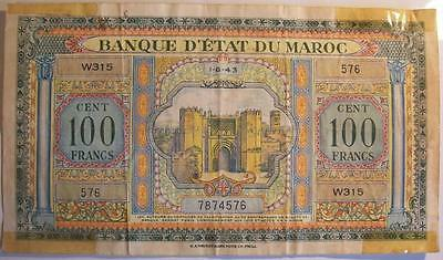 (1) Morocco 100 Francs Note 1943 (W315, #7874576) World Foreign Money
