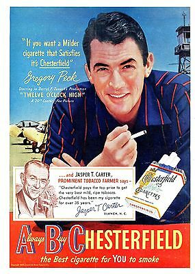 1950 Original CHESTERFIELD COLOR Cigarettes AD. GREGORY PECK Full Color PHOTO