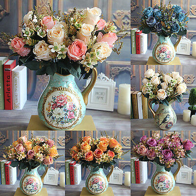 7 Heads Artificial Silk Fake Rose Flower Floral Wedding Bouquet Party Home Decor