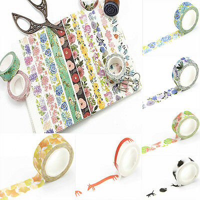 6 Colors DIY Floral Washi Sticker Decor Roll Paper Masking Adhesive Tape Crafts
