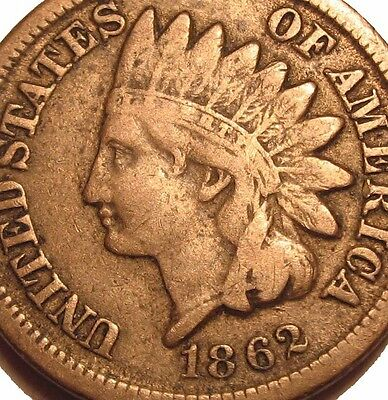 Old Us Coins Rare 1862 Indian Head Cent Civil War Penny Full Liberty Beauty