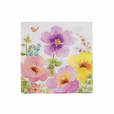 "Watercolour-Style Flowers Pink 3-Ply 20 Paper Napkins Serviettes 13""X13""-33X33Cm"