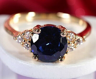 1.06Ct Blue Sapphire & Diamond Solitaire Engagement Ring 14k Rose Gold Over