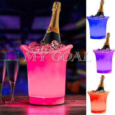 Colour Changing LED ICE Bucket Champagne Wine Party Bar Drinks Cooler Holder UK