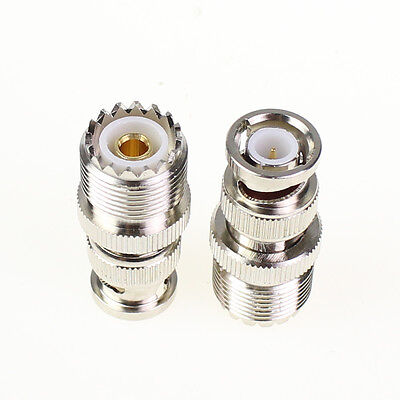 2 Pcs  UHF Female SO-239 SO239 plug to BNC Male jack RF adapter connector PL259