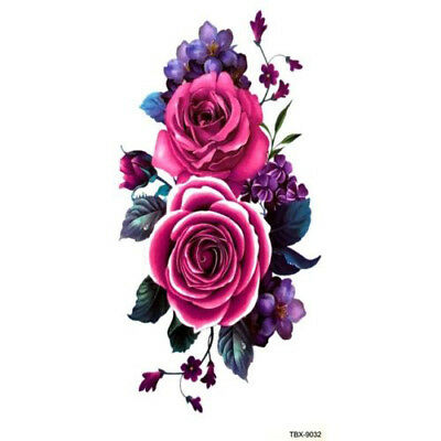 Purple Rose Blossom Flower Temporary Tattoos Stickers Body Art 3D  Waterproof UK