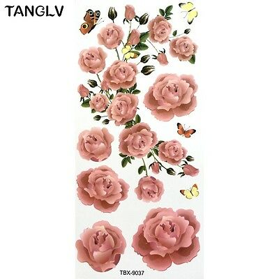 Pink Butterfly Flower Rose Temporary Tattoos Stickers Body Art 3D  Waterproof UK