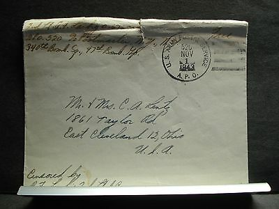 APO 520 TUNIS, TUNISIA, AFRICA 1943 Censored WWII Army Cover 340th BOMB Sqdn