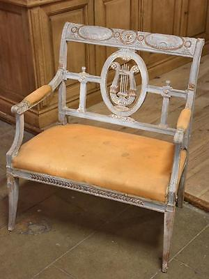 Antique French bench seat with lyre back detail - 18th century