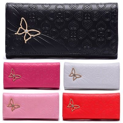 Lady Women butterfly Leather Long Purse Wallet Clutch Zip Bag Card Holder CPS005